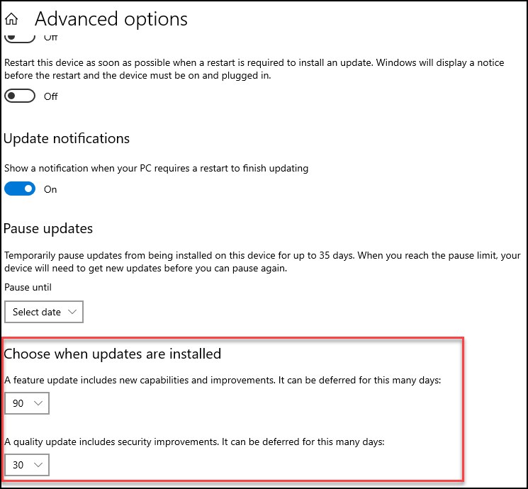 A screenshot showing how to defer Windows 10 Updates