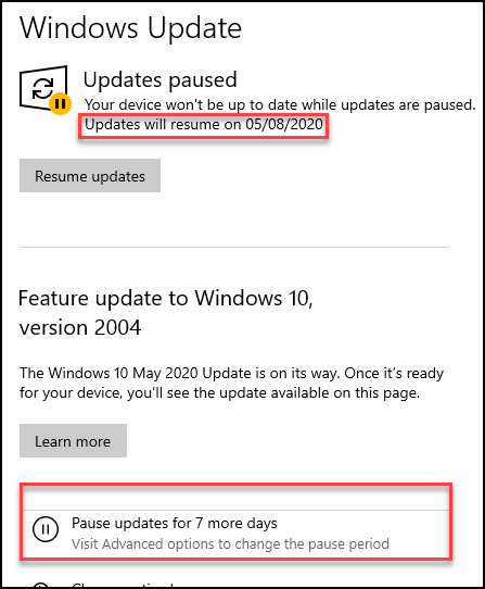 Pause Windows 10 Updates settings