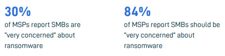 84% of MSPs vs 30% of SMBs said they were concerned about ransomware