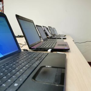 Donated Laptops for lockdown learning being prepared